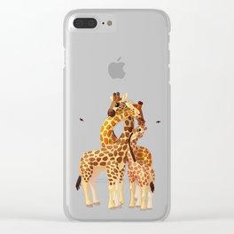 Cute giraffes loving family Clear iPhone Case