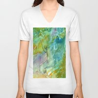 stained glass V-neck T-shirts featuring Stained Glass by Rosie Brown