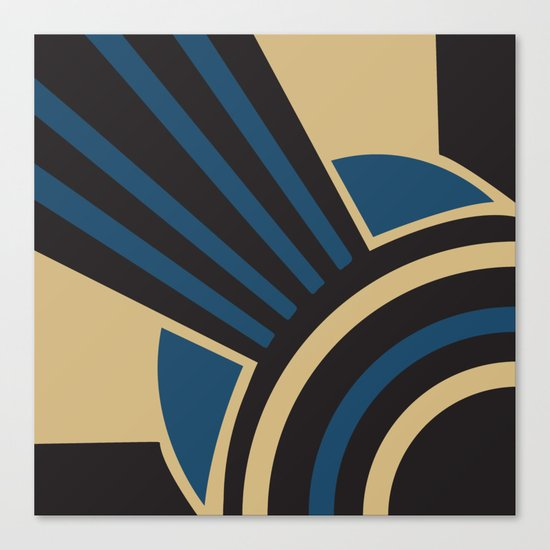 Art Deco Beautiful Life In Blue Canvas Print