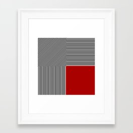 Geometric abstraction, black and white stripes, red square Framed Art Print