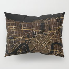 Black and gold New Orleans map Pillow Sham