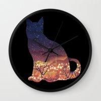 space cat Wall Clocks featuring Space Cat by dan elijah g. fajardo