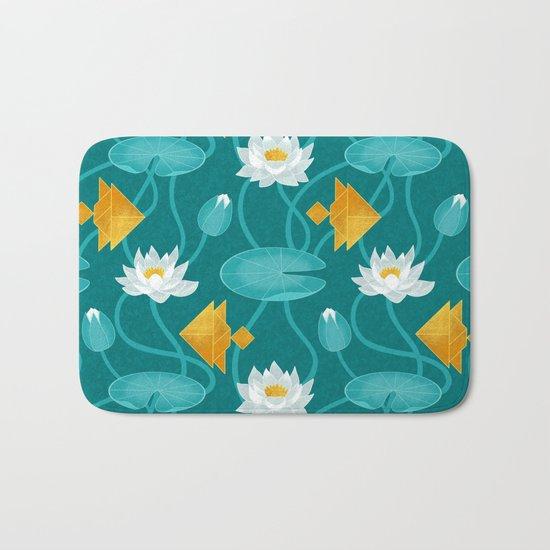 Tangram goldfish and water lillies Bath Mat