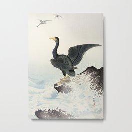 Cormorants at stormy sea - Japanese vintage woodblock print art Metal Print