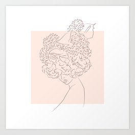 Flower camouflaged woman and sky - Sun - [Minimalist style - Line art] Art Print