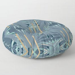 Tropical Art Deco 1.1a Blue, Green, Gold Floor Pillow