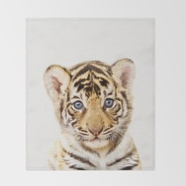 Baby Tiger, Baby Animals Art Print By Synplus Throw Blanket