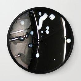 b&w paint spatter Wall Clock