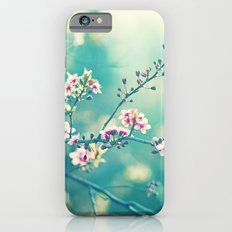 Turquoise Teal Pink Floral Photography, Aqua Flower Nature Art Slim Case iPhone 6s