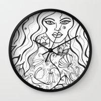 goddess Wall Clocks featuring Goddess by Susan Sanelli Hammack
