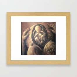 Birth of a Mother // Pregnancy Pregnant Baby Breast Figurative Abstract Painting Mom Midwife Doula Framed Art Print