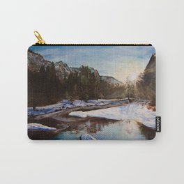 """Original Acrylic Painting """"Snow Mountain"""" Carry-All Pouch"""