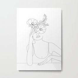 Minimal Line Art Woman with Flowers II Metal Print