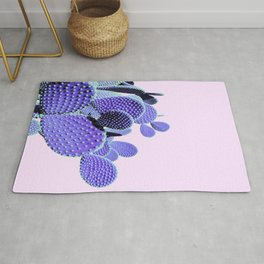 Prickly Cactus - Purple on Pink #cactuslove #tropicalart Rug