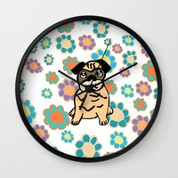 hippy Wall Clocks featuring Hippy Pug  by lindseyclare