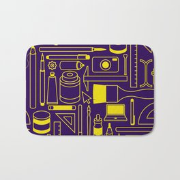 Art Supplies - Eggplant and Yellow Bath Mat