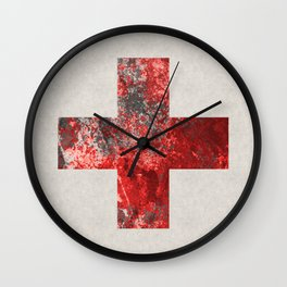 Medic - Abstract Medical Cross In Red And Black Wall Clock