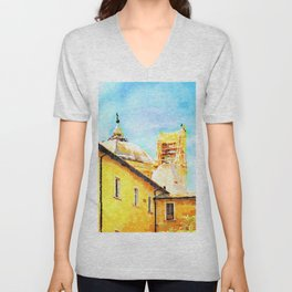 L'Aquila: convent with dome and collapsed bell tower Unisex V-Neck