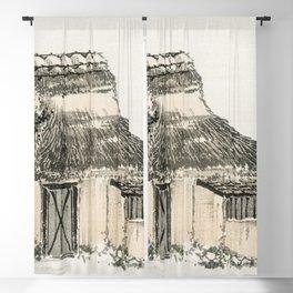 Cottage by Kono Bairei (1844-1895) Blackout Curtain