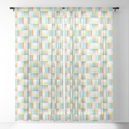 TEAL, YELLOW AND RED BLOCK AND WEAVE DESIGN Sheer Curtain