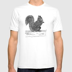 Squirrel White Mens Fitted Tee MEDIUM