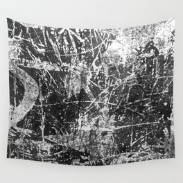 black abstract mono graffiti texture pattern Wall Tapestry