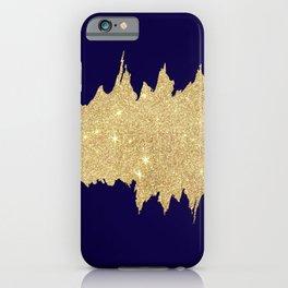 Modern abstract navy blue gold glitter brushstrokes iPhone Case