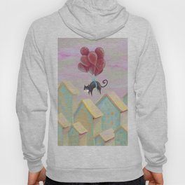 Flying black cat, cute kittens, blue eyes, lovely animals, CG, comic, sweet home, journey, graphic Hoody