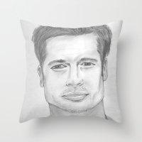 brad pitt Throw Pillows featuring Brad Pitt by Feroz Bukht