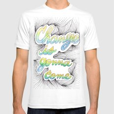 Change is gonna come White Mens Fitted Tee MEDIUM