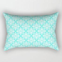 Damask (White & Turquoise Pattern) Rectangular Pillow