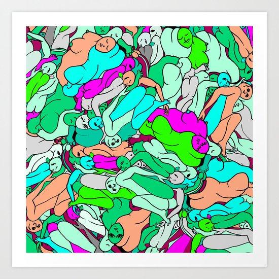 Sleepy Heads - Emerald Green Art Print