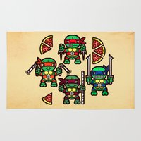 teenage mutant ninja turtles Area & Throw Rugs featuring Teenage Mutant Ninja Turtles Pizza Party by chobopop