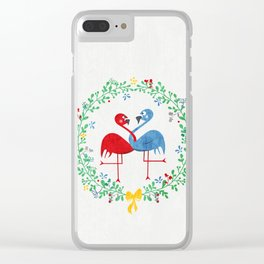FlamingosTangled in Love Clear iPhone Case