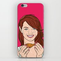 emma stone iPhone & iPod Skins featuring Emma Stone With Fried Chicken by Jason Adams
