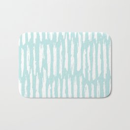 Vertical Dash Stripes White on Succulent Blue Bath Mat