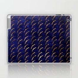 Glitter Gold Sliver Moon On Blue Metallic Sky Laptop & iPad Skin