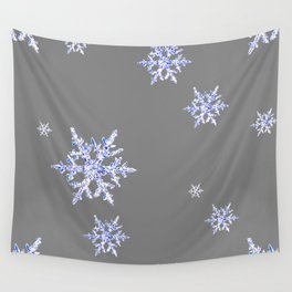 DECORATIVE GREY WINTER WHITE SNOWFLAKES Wall Tapestry