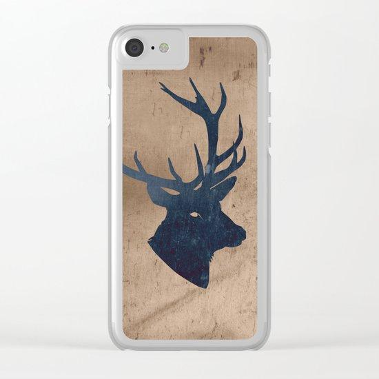 Grunge Deer Stag Simple Illustration for Men Clear iPhone Case