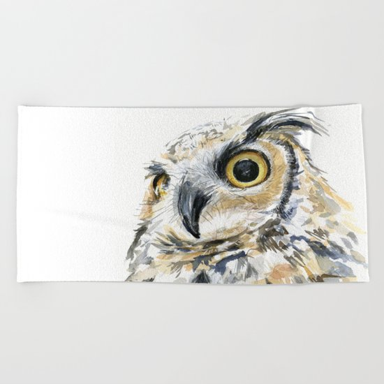 Owl Great Horned Bird of Prey Owls Animals Bird Wildlife Beach Towel