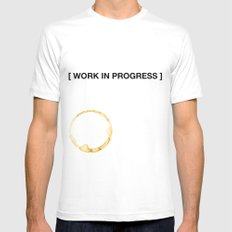WORK IN PROGRESS MEDIUM White Mens Fitted Tee