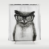 hipster Shower Curtains featuring Mr. Owl by Isaiah K. Stephens