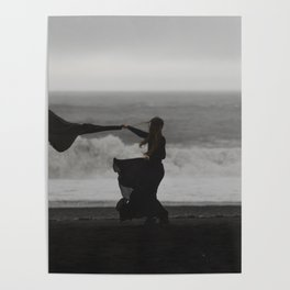 black beach in iceland during a storm Poster