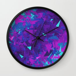 Pink, Purple, and Blue Triangles 2 Wall Clock