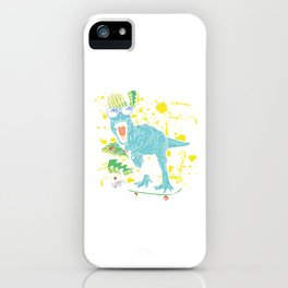 Cool Dinosaur Skateboarding Colorful Skateboard T-Rex Lovers Gifts iPhone Case