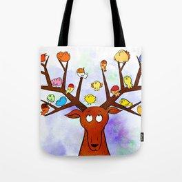 Deer with little birds Tote Bag