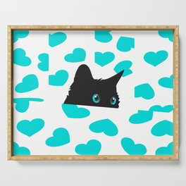 Cat on Blanket with Hearts Serving Tray