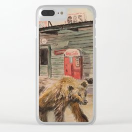 Bear on Route 66 Clear iPhone Case