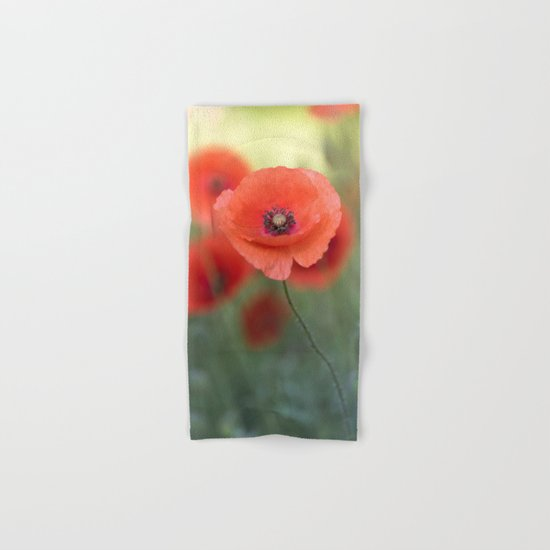 Beautiful poppy in a meadow Hand & Bath Towel