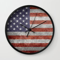 Flag of the United States of America - Vintage Retro Distressed Textured version Wall Clock